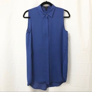 J. Crew Blue Sleeveless Button Down Tunic Blouse 6